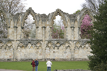 The remaining ruins of the abbey in York