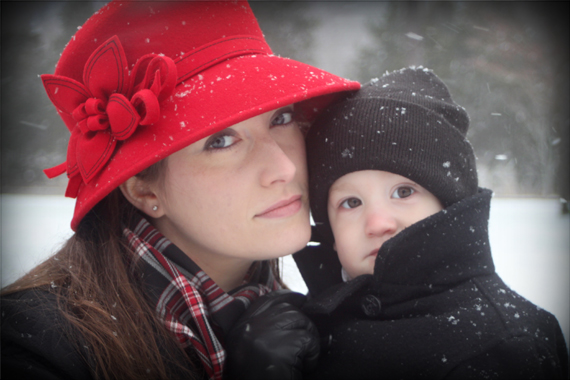 Melissa and Calvin braving the snow flurries