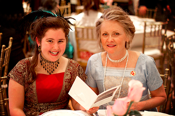 Mom and Mary Dining in Period Garb