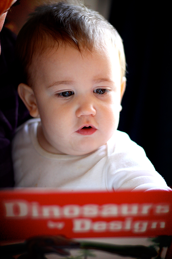 Christian Sits in Mama's Lap and Reads About Dinosaurs