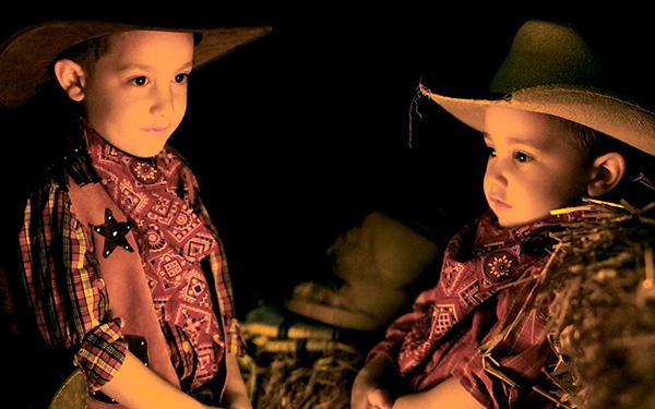 Two Cowboys at a 'Cowboy Campfire'