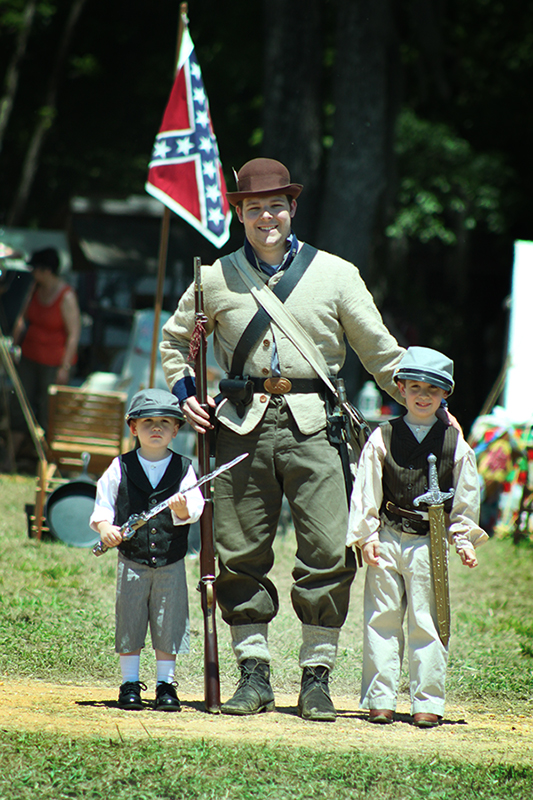"Our Boys Pose with a ""Real"" Confederate Soldier"
