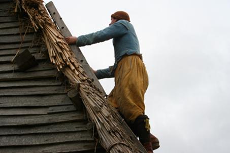Pilgrim Henry Samson repairs Governor Bradford's roof