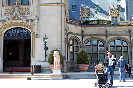 Calvin and I stand together near the iron gate (main entrance) of the Biltmore Estate