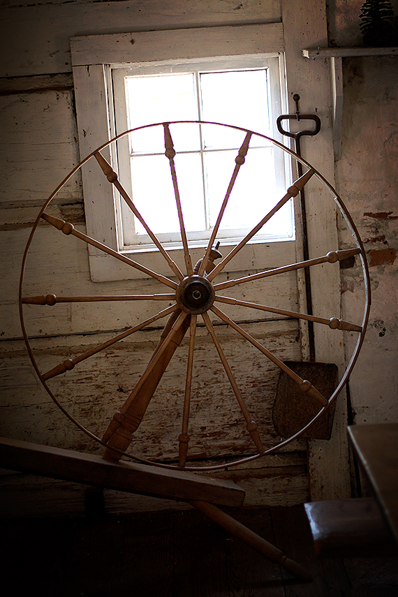 Spinning Wheel Against the Wall