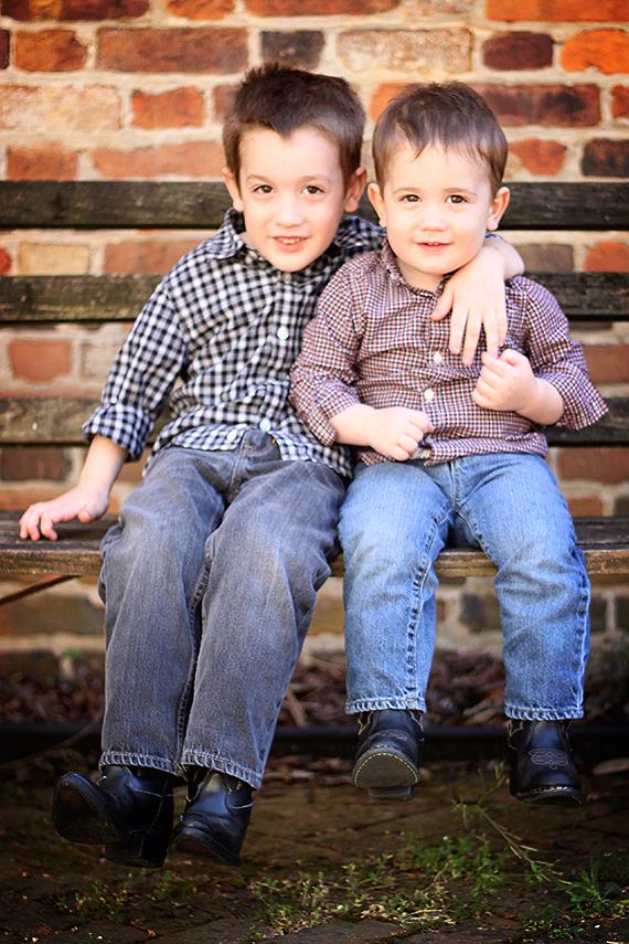 Brothers Enjoying Springtime Weather in the Polk Courtyard