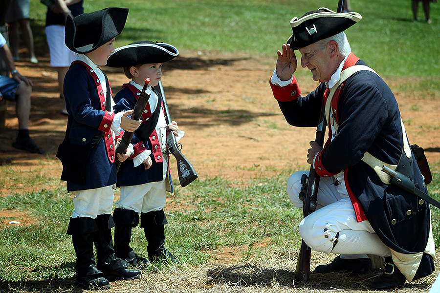 History comes alive for the boys in their interactions with the reenacting crew of the 1st Pennsylvania regiment